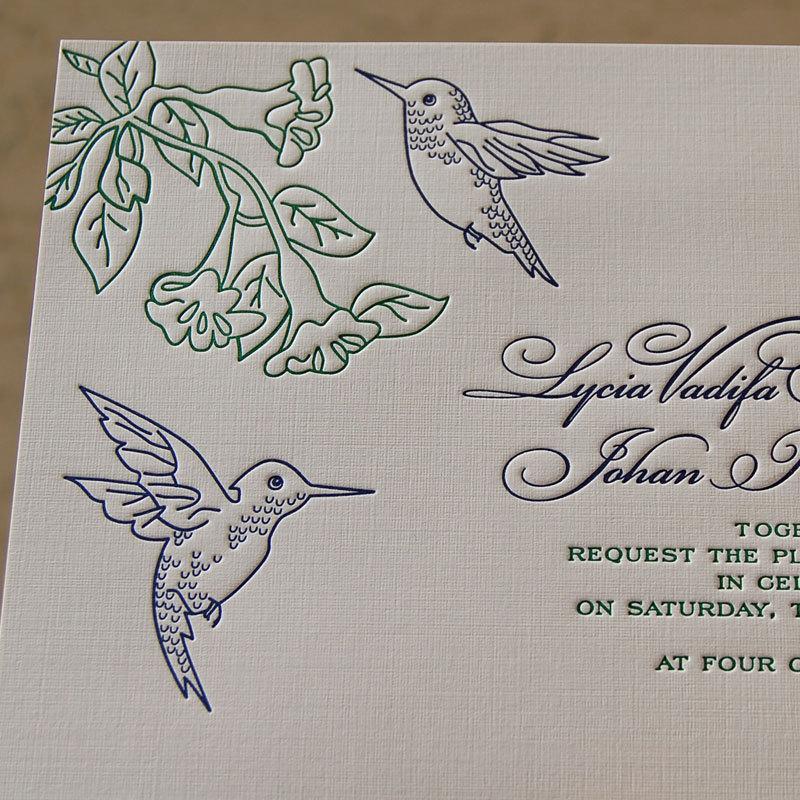 Hochzeit - Letterpress Wedding Invitation Sample, Wedding Invitation, Hummingbirds Wedding Invitation, Hummingbirds Invitation, Wedding Invitations