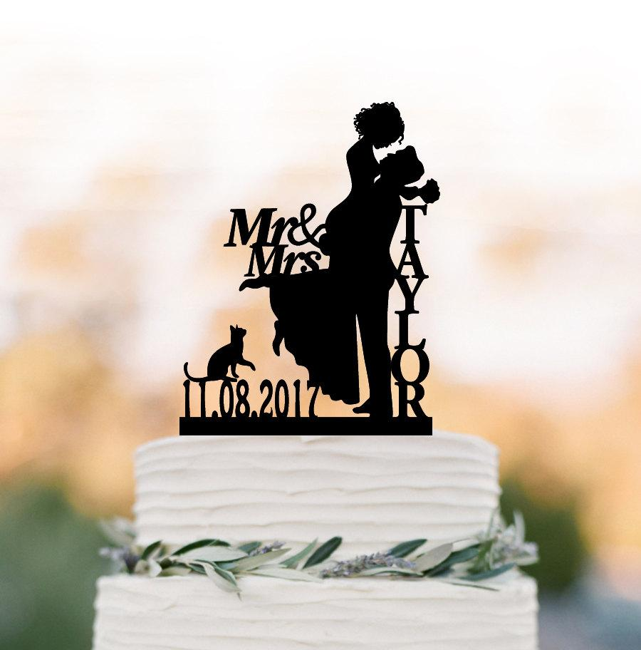 Mariage - Personalized Wedding Cake topper with cat, mr and mrs, date, bride and groom silhouette , custom name cake topper for wedding