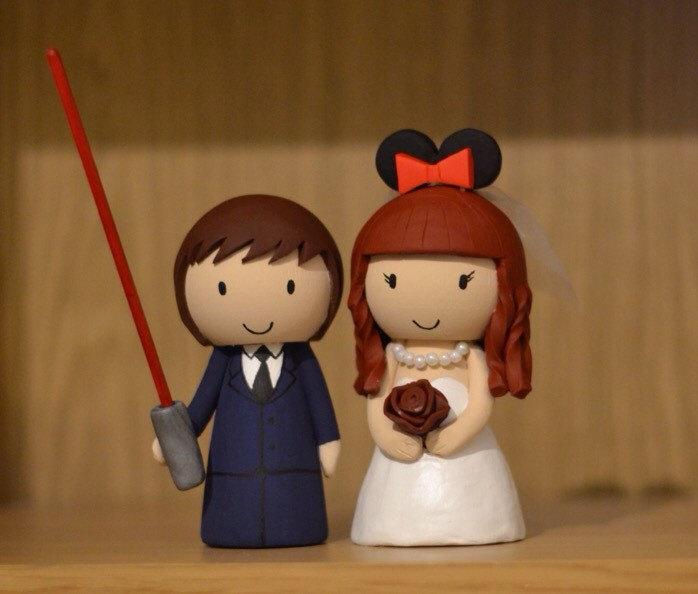 Свадьба - Disney Star Wars & Minnie Mouse inspired Wedding Cake Topper Custom Made