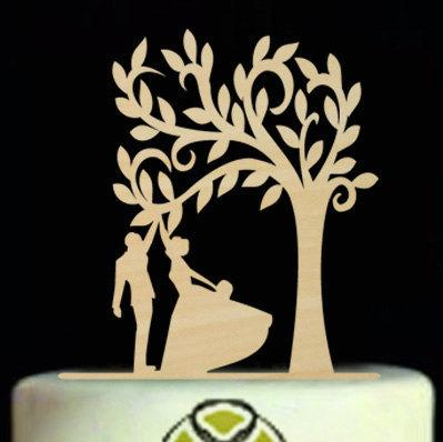 Свадьба - Rustic Wedding Cake Topper,Silhouette Bride and Groom Cake Topper,Dancing Cake Topper,Wedding Tree Cake Topper,Unique Wood Cake Topper