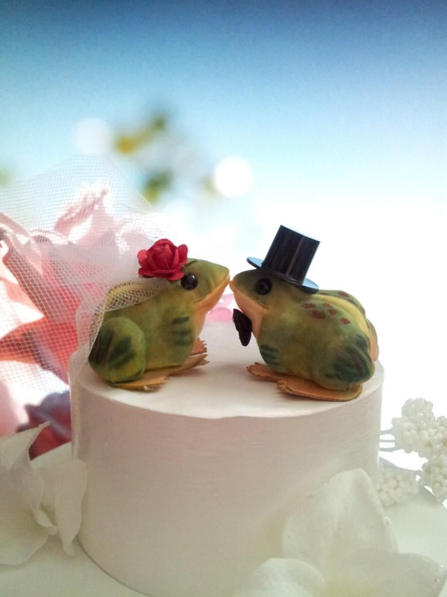 Свадьба - choose your female head flower  wedding     SMALL   romance little love  frogs  or anniversary cake topper