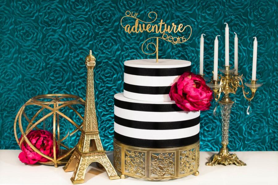 Свадьба - Wedding Our Adventure Begins Cake Topper Gold or Silver