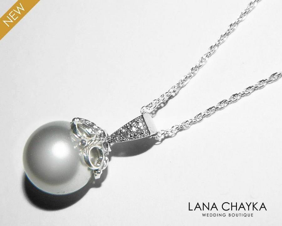 d66b20c4d273d Light Grey Pearl Silver Necklace Swarovski 10mm Pearl Pendant Pearl ...