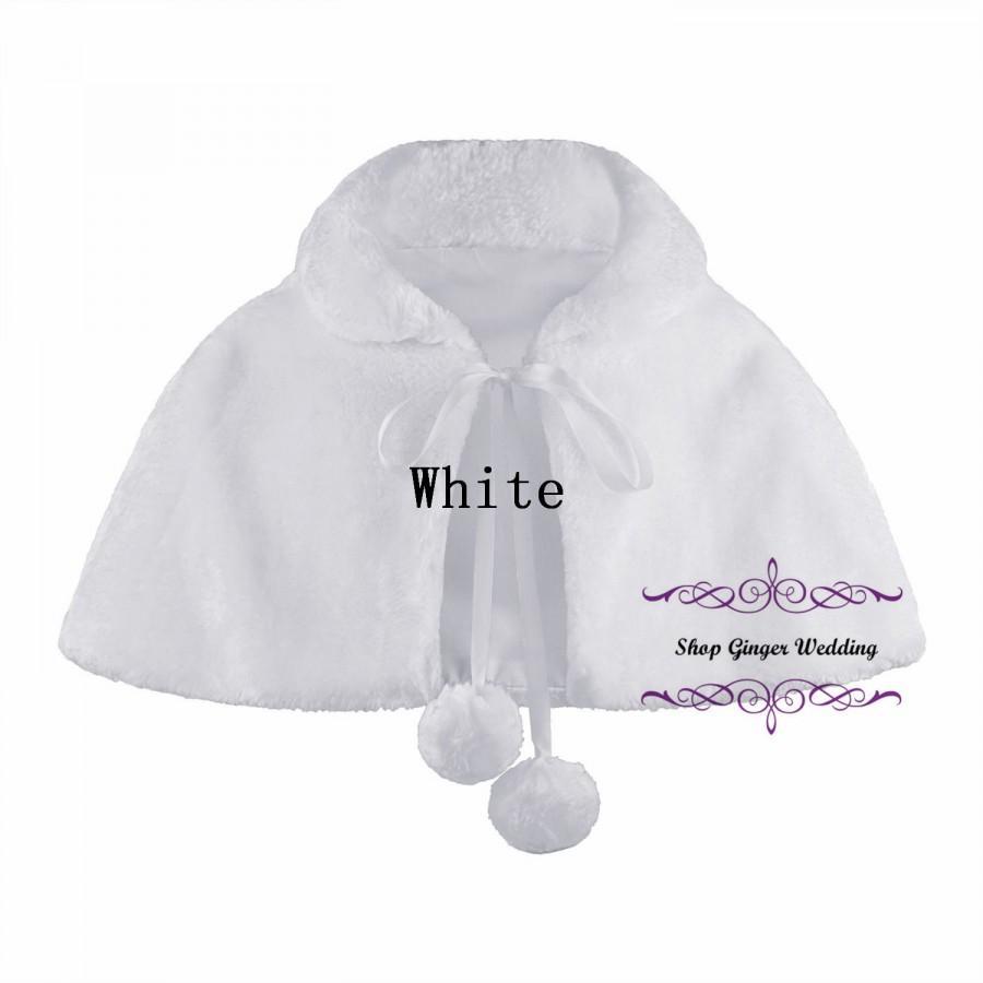Ivory Wedding Party Flower Girl faux fur stole Wraps Cap  S M L