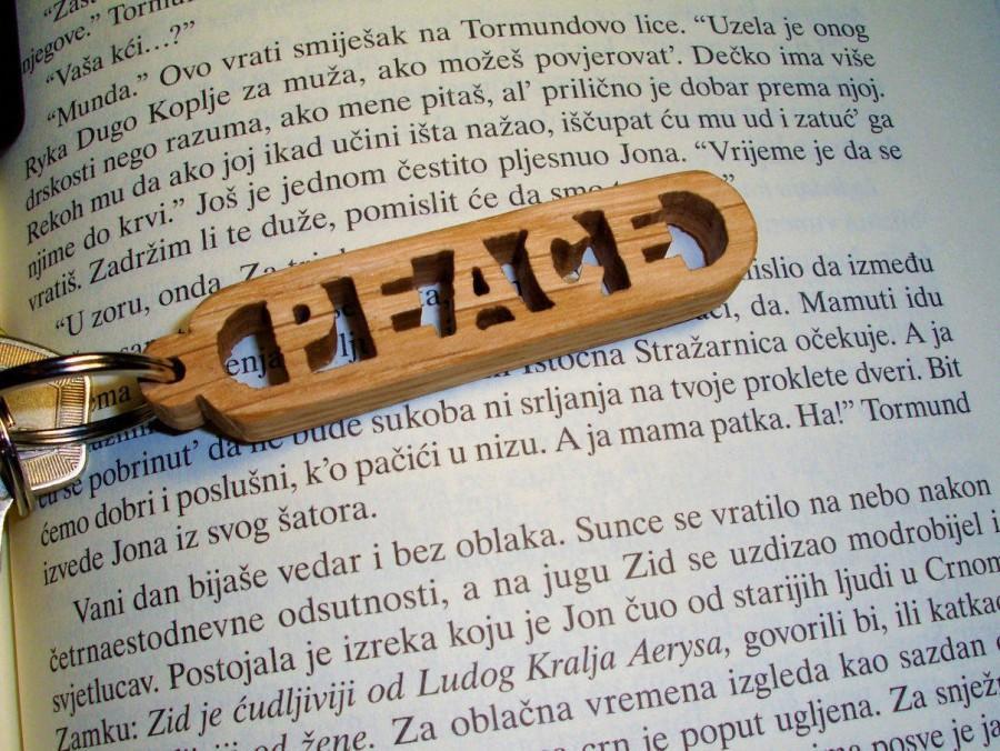 Wedding - Handmade Peace Wooden Keychain