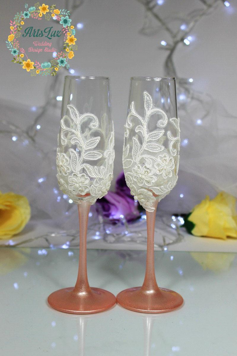 Rose Gold Wedding Champagne Gles Pink Toasting Flutes Hand Painted Lace Favor Pearls Gl