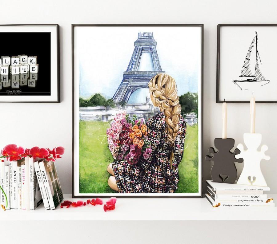 Wedding - Paris illustration, Paris girl, fashion illustration, fashion print, digital prints, digital print, fashion, watercolor, painting