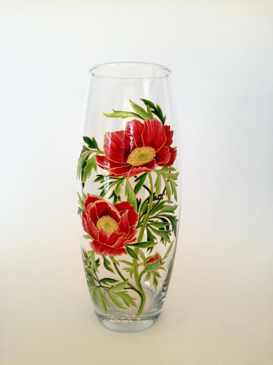 Holiday present hand painted vase colorful glass home for Glass home decor