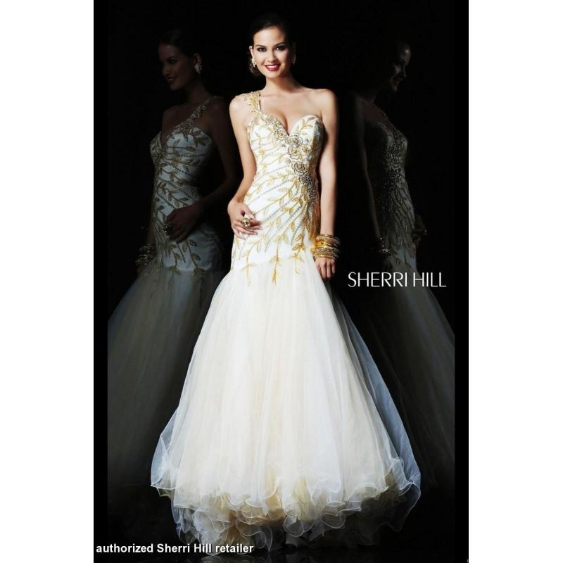 Wedding - Ivory/Gold Sherri Hill 1572 - Brand Wedding Store Online