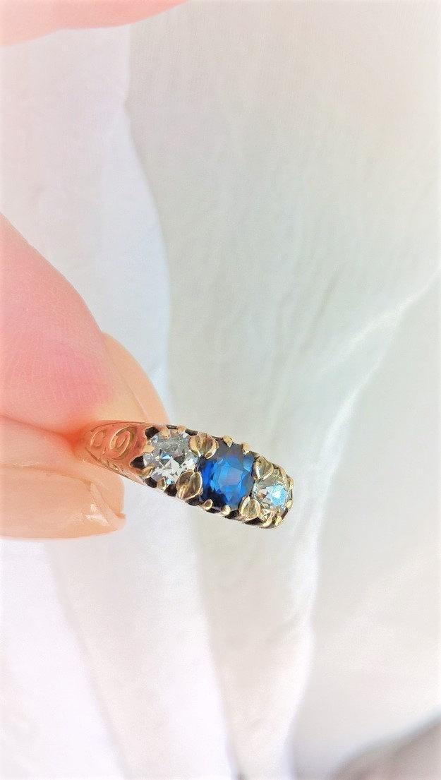 زفاف - Victorian Art Nouveau Old European Cut Diamond OEC Sapphire Rose Gold 14K Trilogy 3 Stone Engagement Stacking Birthstone Ring Antique Estate