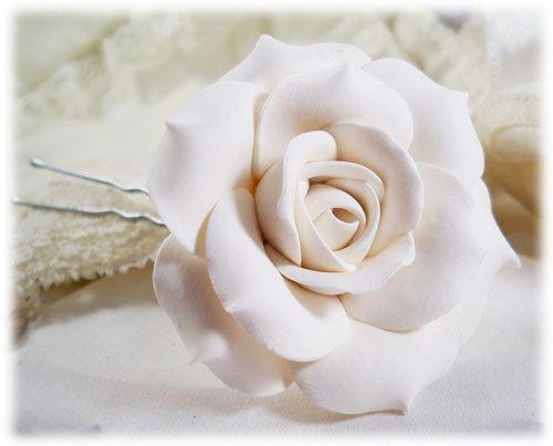 Hochzeit - White Rose Hair Clip Pin - White Hair Flower