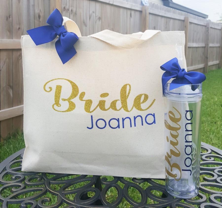 Wedding - Bride Team, Canvas Tote Bag, Christmas Gift,Personalized Tumbler, Bridesmaid Gift Idea, Bride Tote,Office Gift,Bridesmaid Gift, Wedding Gift
