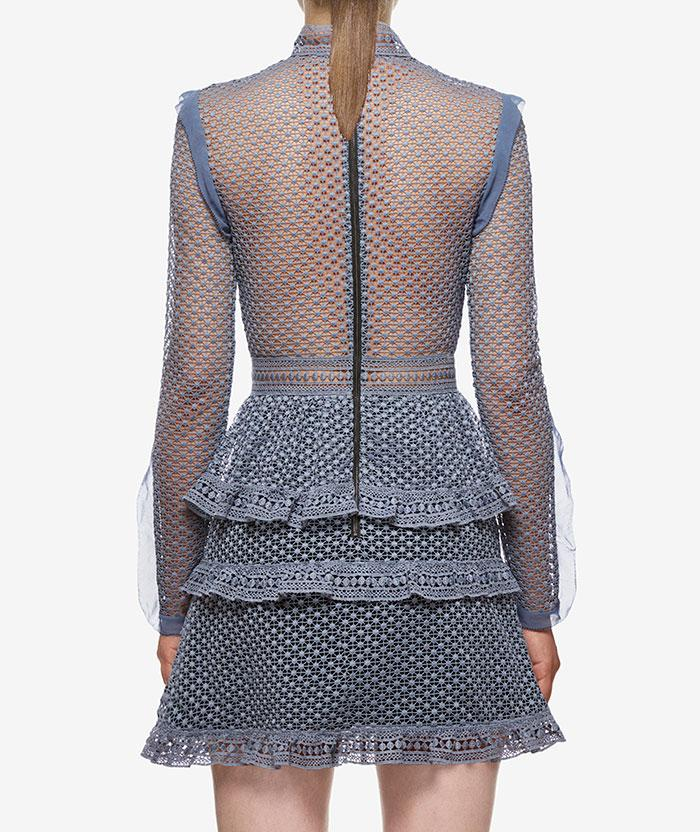 Wedding - Self Portrait Dot Mesh Tiered Mini Dress In Dove Grey