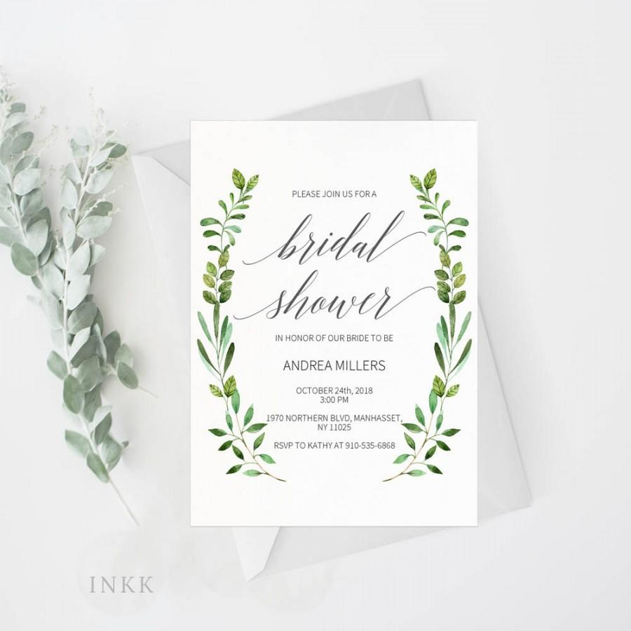 Bridal Shower Invitation Template, Rustic Bridal Shower Wedding ...