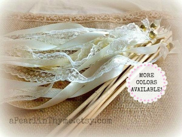 Wedding - Vintage INSPIRED Ivory and Lace Wedding Wands-You CHOOSE quantity-More Ribbon COLORS Available!!!!