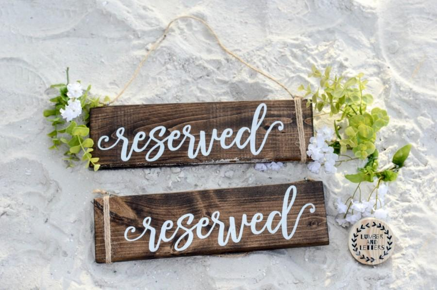 Hochzeit - Wedding Reserved Sign - Rustic Wedding Decor - Hanging Reserved Signs - Chair Reserved Signs - Family Reserved Signs - Wood Reserved