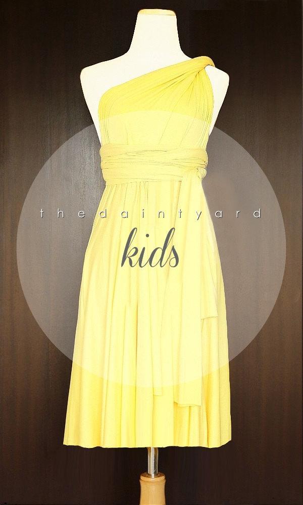 fddb403cf6337 KIDS Yellow Bridesmaid Dress Convertible Dress Infinity Dress ...