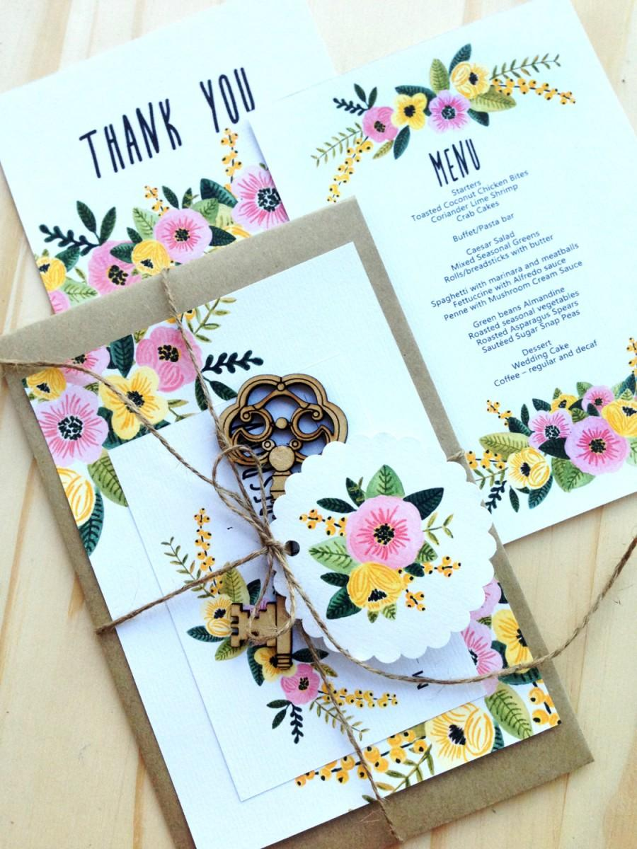 Printable Wedding Invitation Set Rsvp Thank You Card Wedding Menu