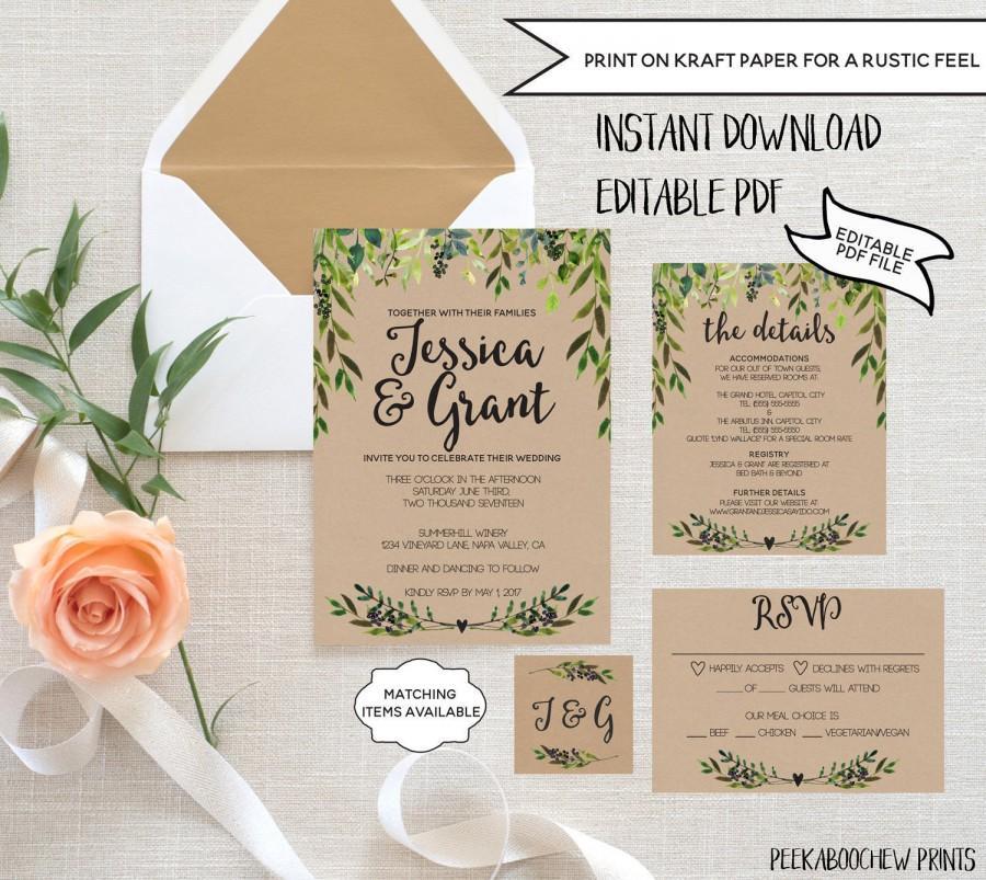 Wedding Invitation Template Set EDITABLE Rustic RSVP Card