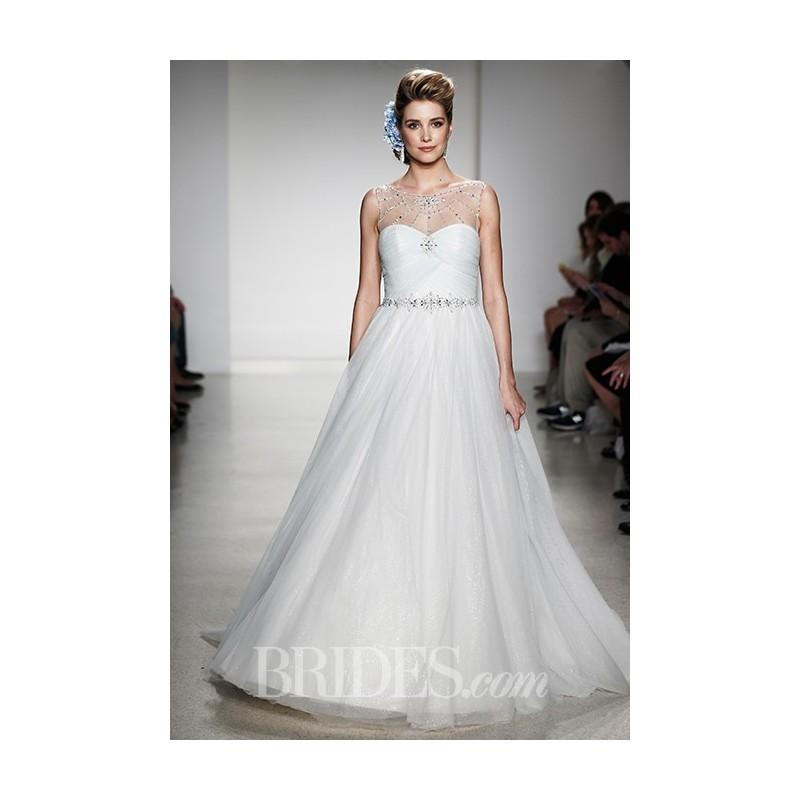 Wedding - Alfred Angelo - Fall 2015 - Cinderella Sleeveless A-Line Gown with Illusion High Neckline - Stunning Cheap Wedding Dresses