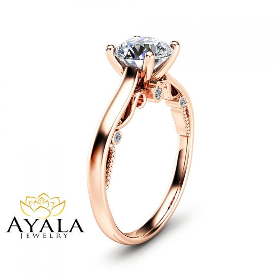 Свадьба - Round Cut Moissanite Engagement Ring Unique 14K Rose Gold Ring 1 Carat Moissanite Engagement Ring Custom Ring