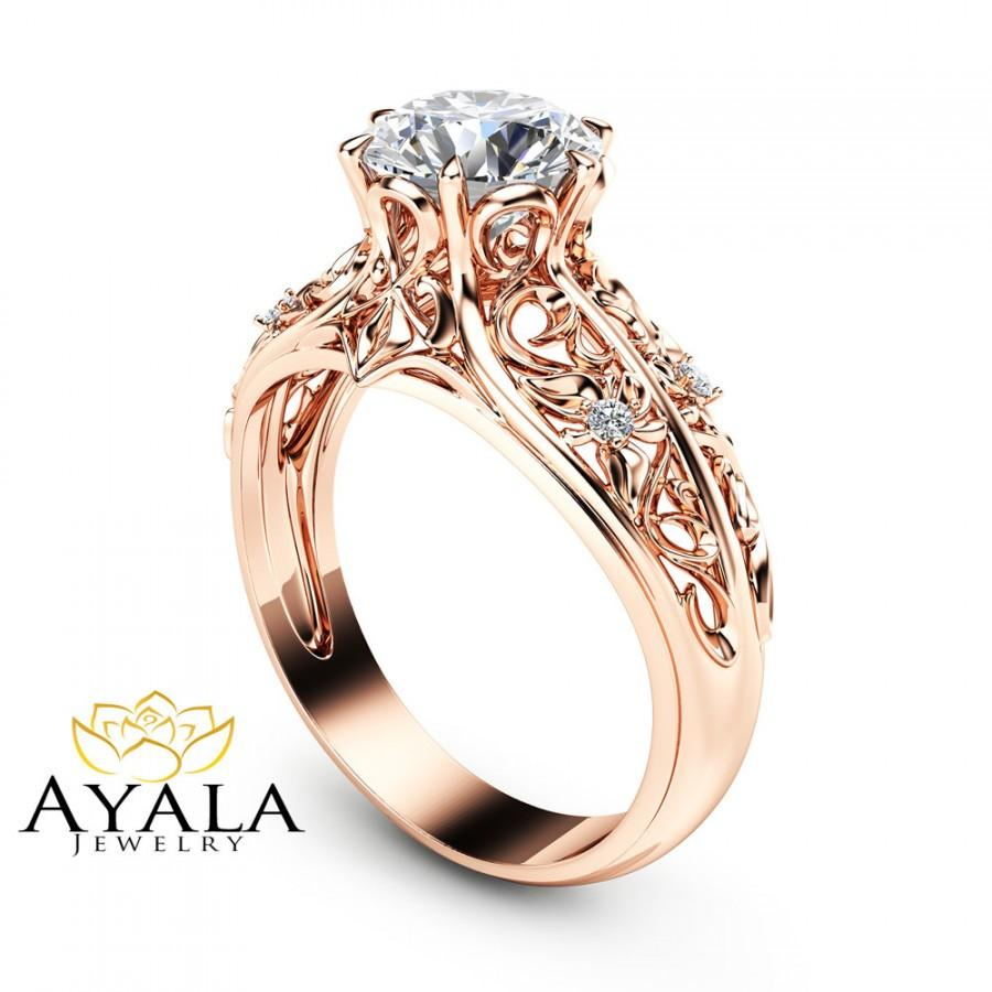 14k Rose Gold Engagement Ring Unique Engagement Ring Rose Gold Moissanite  Ring Vintage Engagement Ring