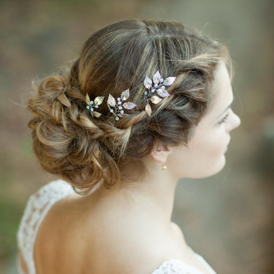 Hochzeit - Bridal leaf hair pins Silver wedding hair pins Silver leaf headpiece Silver bridal pins Silver hair accessory Leaf hair comb Bridal hairpins