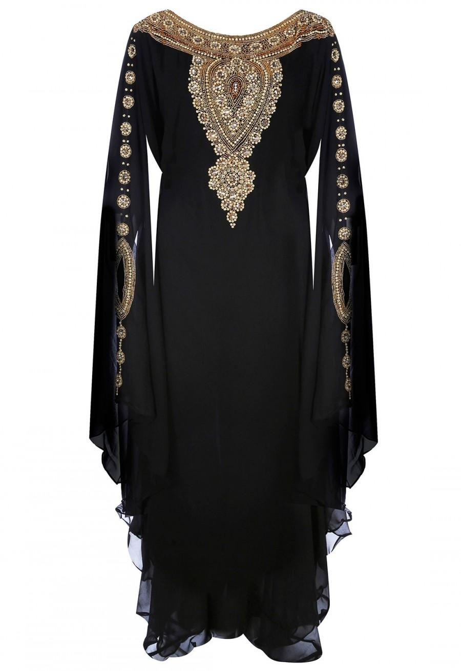 Свадьба - Jywal Embroidered Kaftan Dress in Black and Gold
