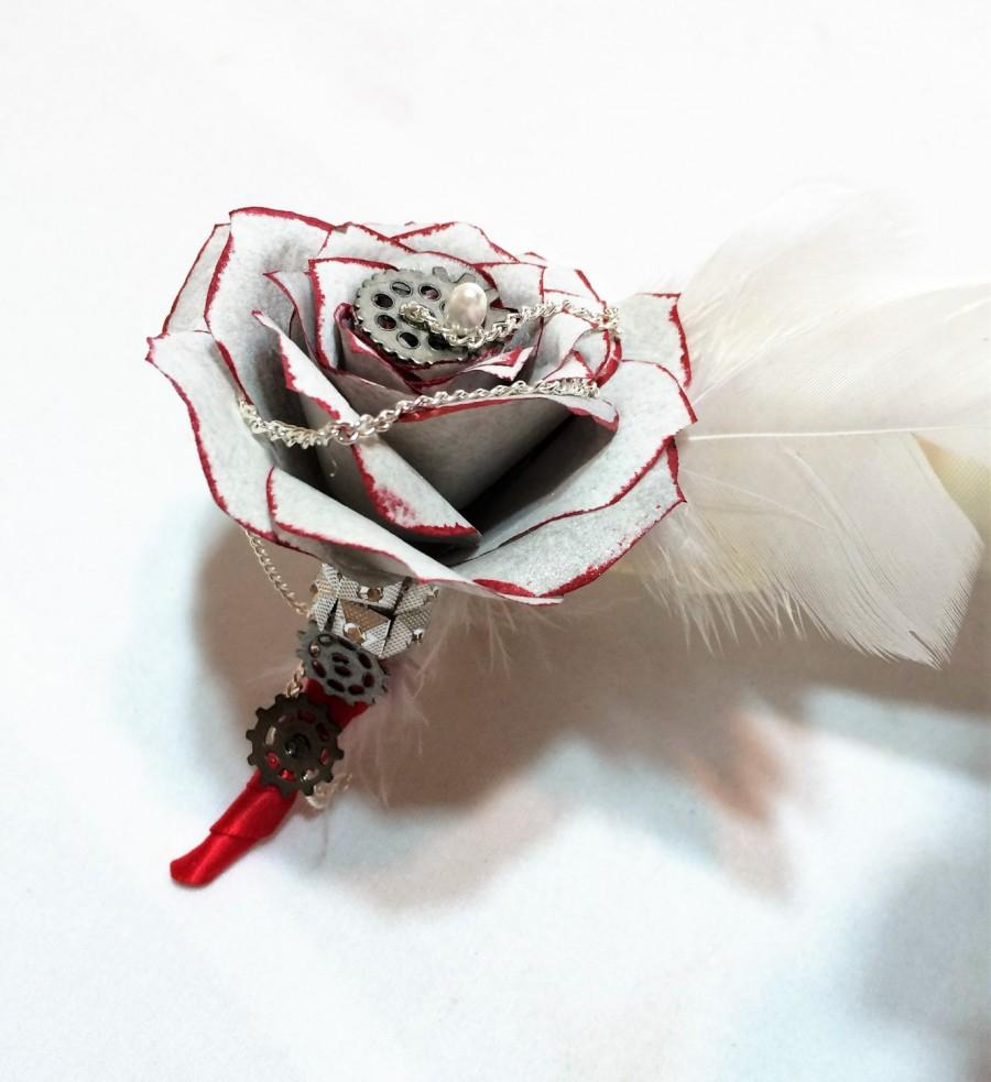 Wedding - Silver and red boutonniere, Steampunk boutonniere, Rockabilly Men's lapel flower, Men's buttonhole flower, Prom boutonniere, Mom corsage - $14.50 USD