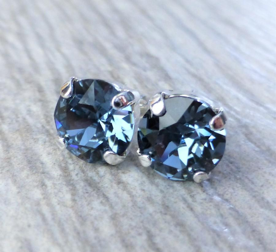 Navy Blue Swarovski Stud Earrings Crystal Rhinestone Post Silver Round Studs Bridesmaid Gifts Gift