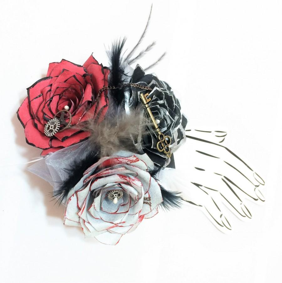 Steampunk Corsage Or Boutonniere In Silver Red Black Handcrafted