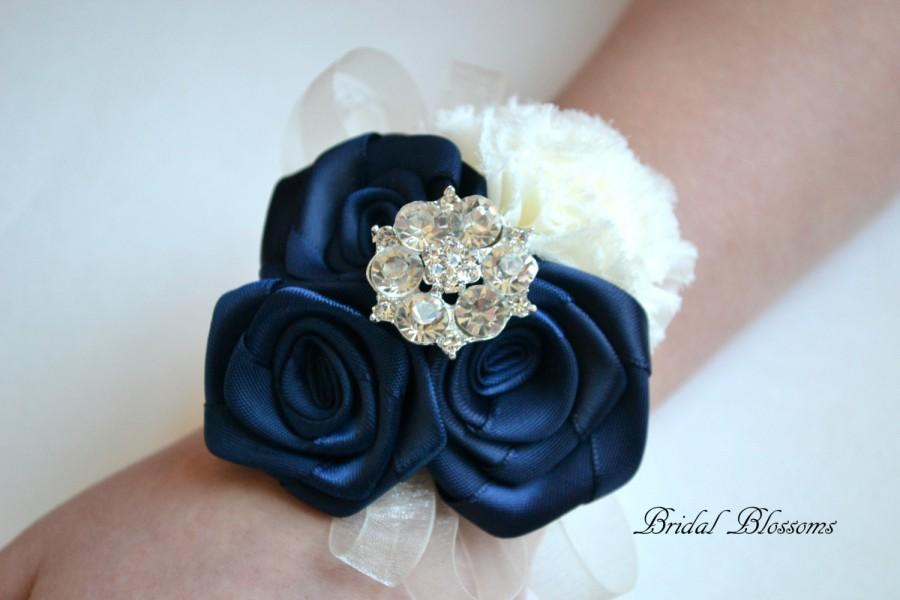 Wedding - BEST SELLER - Navy Ivory Chiffon Ribbon Flower Wrist Corsage Boutonniere