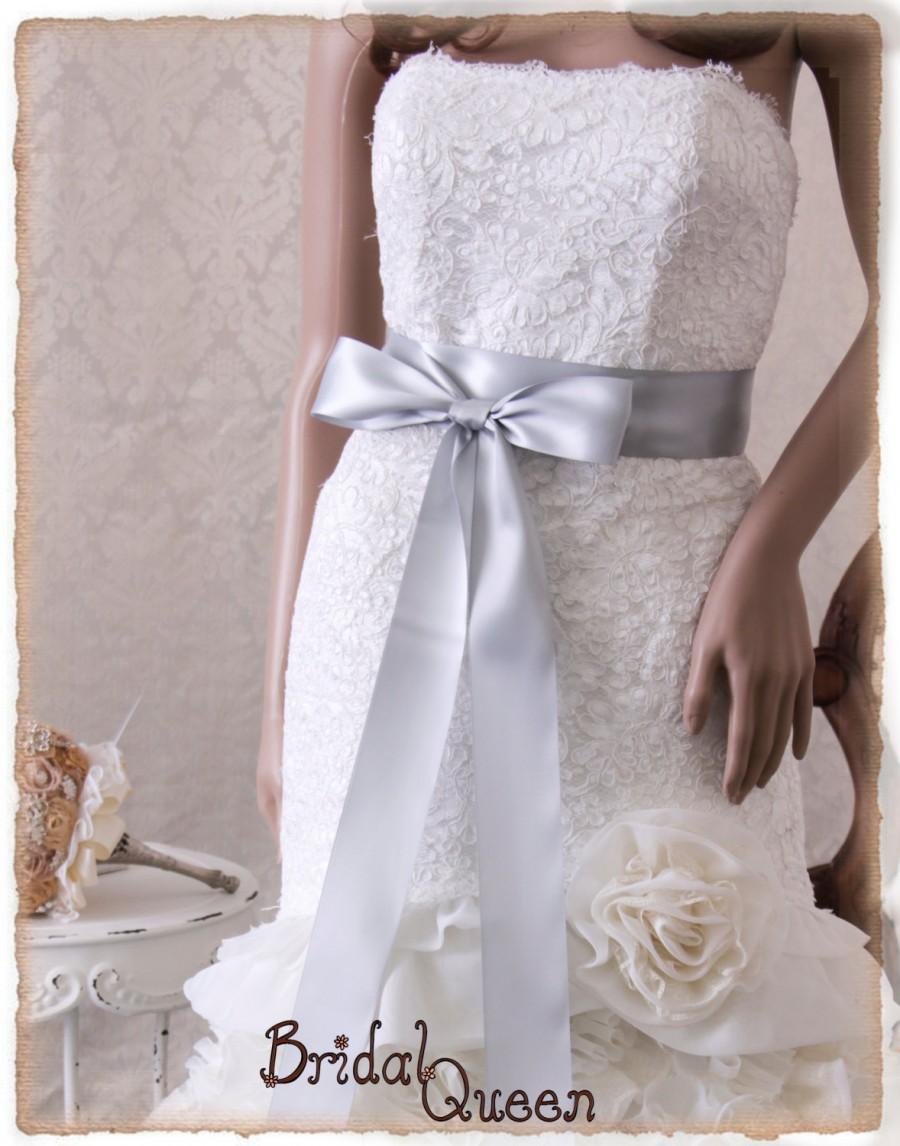 زفاف - Silver wedding sash belt Bridal sash, SILVER Ribbon Wedding Sash, Satin Ribbon Sash, Silver Bridal Sash, Bridesmaids Sash