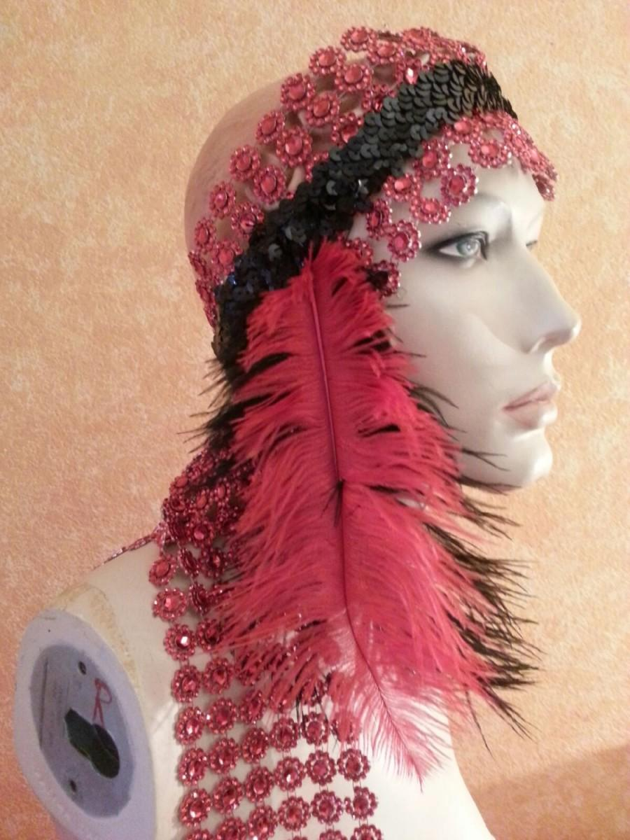 Mariage - Gatsby Goddess Red & Black Feather Illusion Jewel Mesh Black Sequined Bridal Headpiece Wedding Party Costume