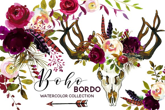 Wedding - Boho Burgundy Watercolor Flowers