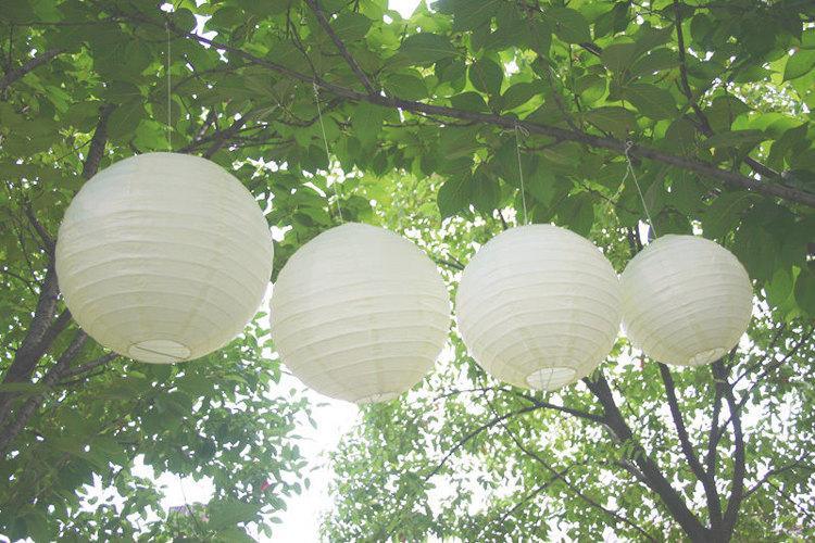 Wedding - Ivory Paper Lantern Lampshade Christmas Event Wedding Reception Hanging Decoration
