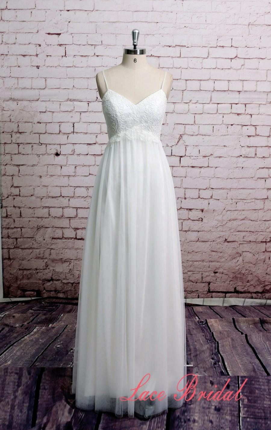 Wedding - Spaghetti Straps Wedding Dress Tulle Skirt Bridal Gown Beach Style Wedding Dress A-line Outside Wedding Gown