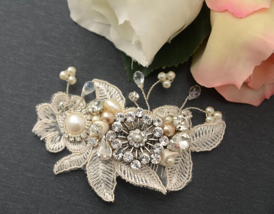 Mariage - Vintage inspired swarovski crystal art deco crystal rhinestone bridal hair comb wedding hair accessories bridal headpiece