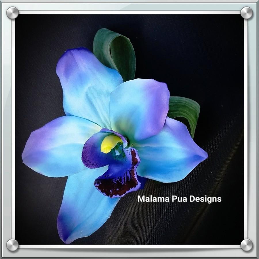 زفاف - BLUE ORCHID HAIR Hair clip, Silk flowers, Wedding headpiece, Hair flowers, Crystal center, Bridal flowers, Tropical flowers, Hair piece