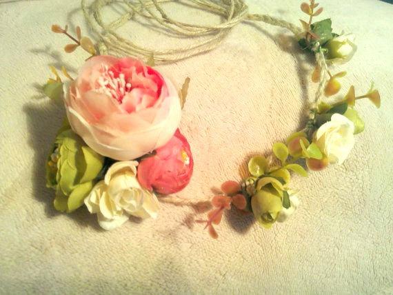Mariage - Pink flower crown, wedding crown ,flower halo, rustic flower crown, bridal crown, rustic wedding, bridesmaid crown