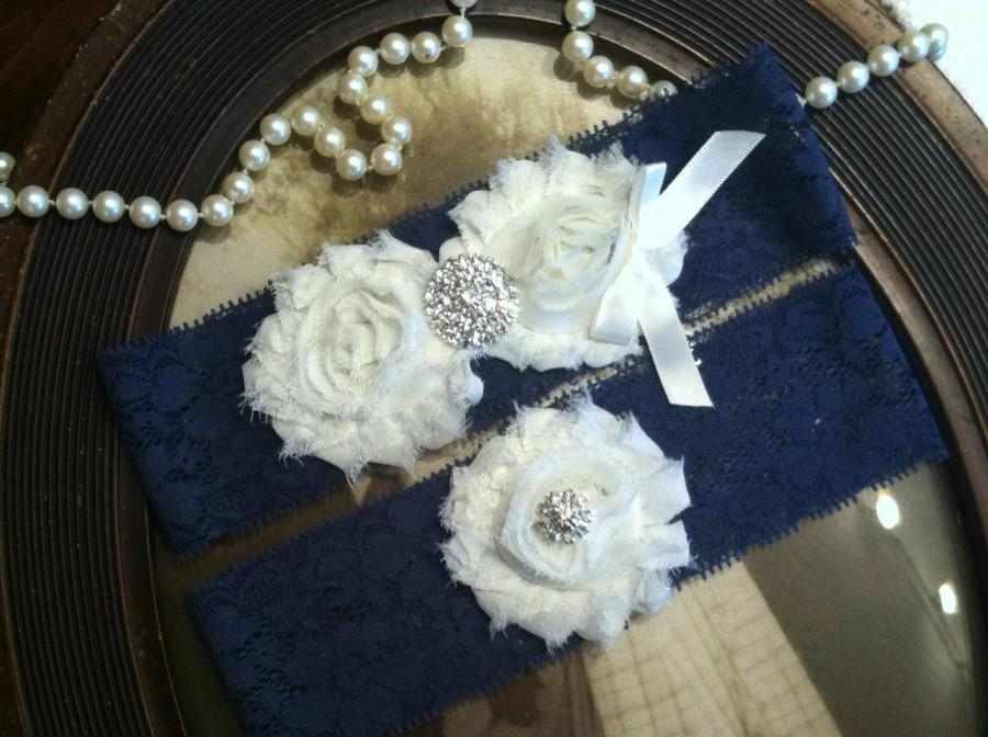 Wedding - SALE-Wedding Garter - Navy Blue Lace Garter Set - Garter - Vintage - Bridal Garter - Vintage Garter - Toss Garter - Rhinestone - Pearl