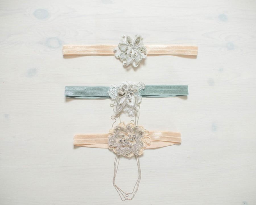 Hochzeit - Ophelia Garter Wedding Gift for her Bridal Accessory, Glamorous Bridal Garter, Rhinestone Garter, Grey, Hand stitched crystals, rhinestones,