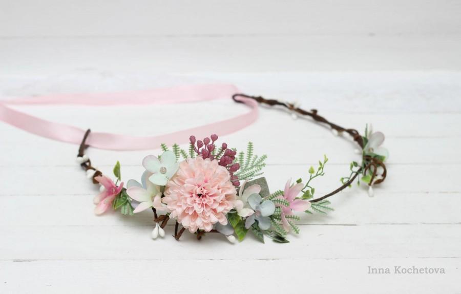 Свадьба - Pink blue flower crown  Flower hair wreath Flower halo Boho flower crown Wedding flower crown Bridal floral crown Floral crown Wedding halo