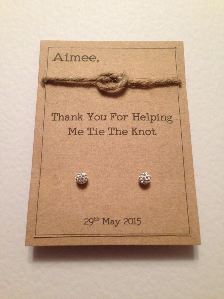 Mariage - Thank you for helping me tie the knot personalised earring cards ideal wedding party gifts