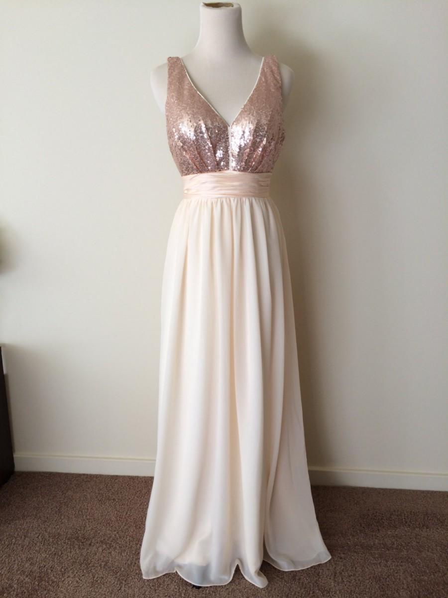 Wedding - Custom made 'Jamie' style dress with sequin V neck front, open back, slim straps, taffeta waistband and bow, and full length chiffon skirt
