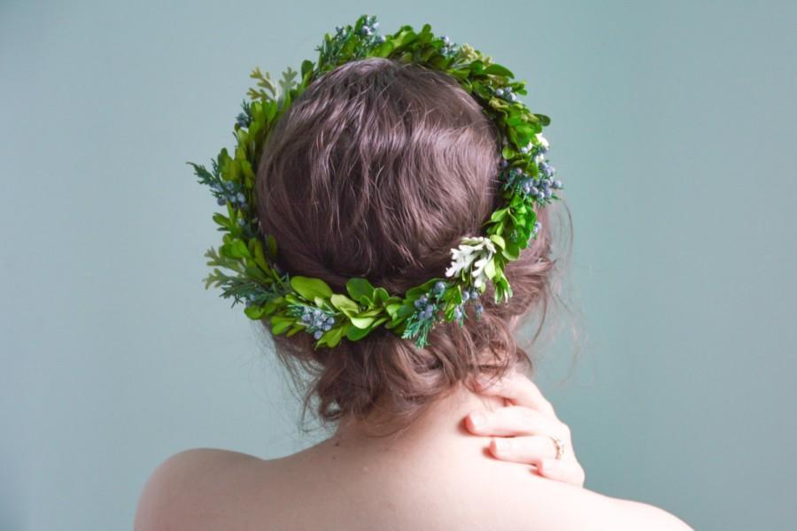 Mariage - green flower crown, green wedding crown, leaf crown, green wedding halo, green bridal wreath, juniper crown, boho crown - RAINE