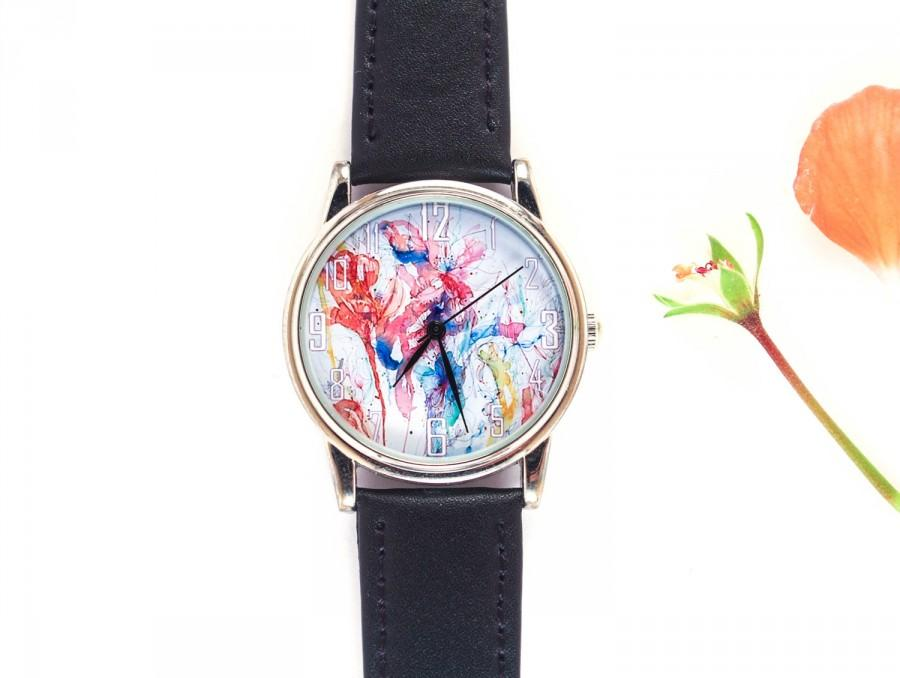 Mariage - Rain flowers,Floral wrist watch,Watercolor flower jewelry, Quartz wrist watch,Free shipping