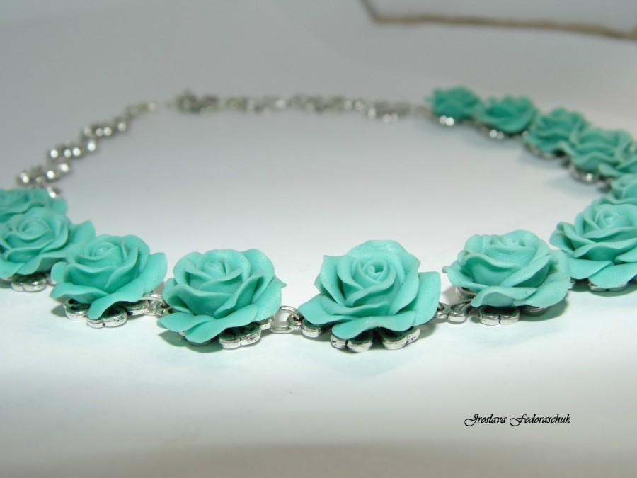 Mariage - Turquoise Rose necklace Turquoise flowers Floral jewelry Gift Handmade Cold porcelain Wedding Jewelry Gift for her for Mom
