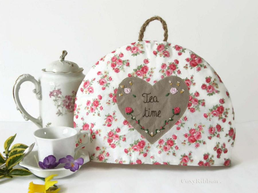 Wedding - Teapot Cozy, Tea Warmer with pink flower fabric,  Teapot Warmer, Chic Cottage- Teacup Tea Cozy - Tea Cosy -  Gift for Her - Tea Lover Gift