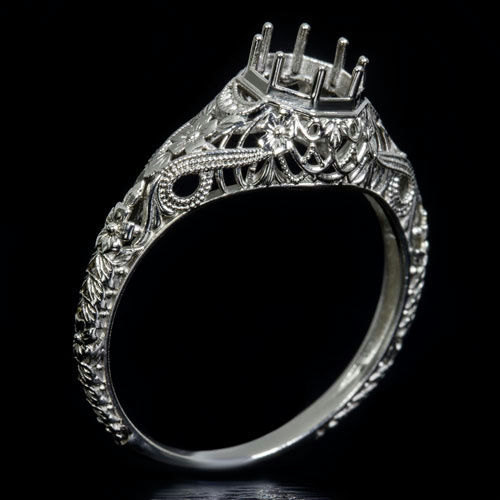 Wedding - Vintage Antique Art Deco Engraved Filigree Milgrain Setting 14K White Gold Handcrafted Round Engagement Ring 6mm 6422a
